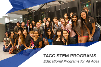 group shot of Code @ TACC attendees, girls cohort