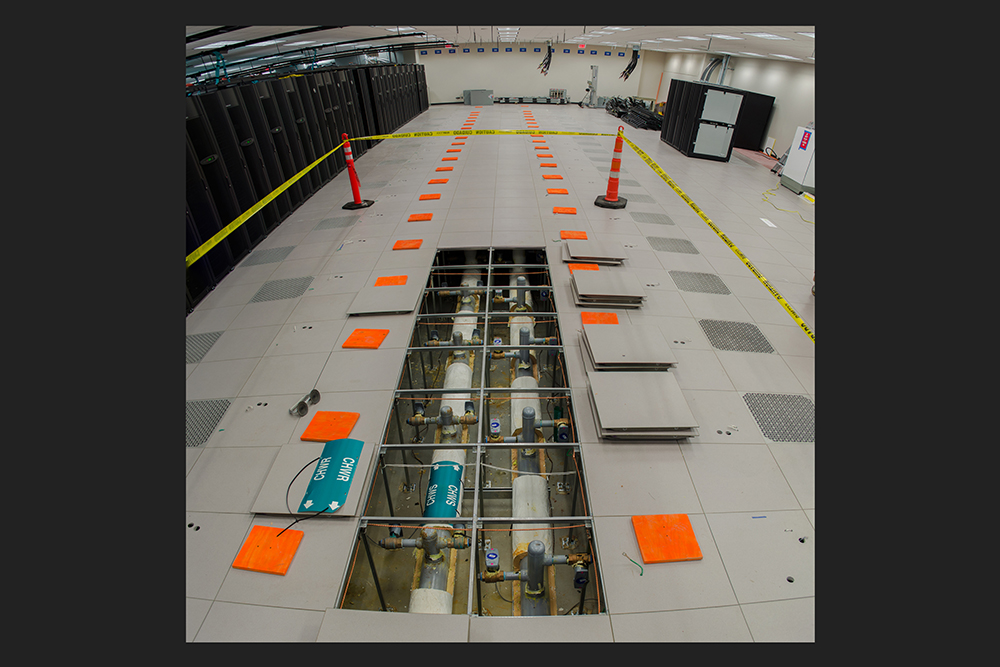 The last servers of the Stampede1 supercomputer were cleared for Frontera. Frontera will be much faster than Stampede, but Frontera uses only 1/3 the space (2,500 square feet).