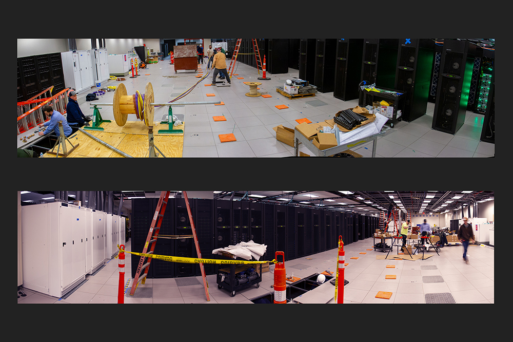 Hundreds of pounds of electric cables were spooled out for Frontera's transformers (white), as the floor was readied with coolant and power connections for the first computer racks to arrive.