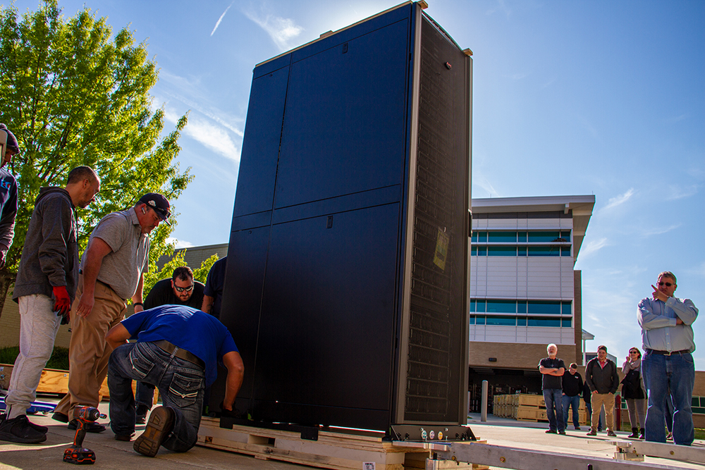 The first of 91 compute racks arrived at TACC loaded with Intel 8280 Cascade Lake processors, the 2nd Gen Intel Xeon Scalable processors.