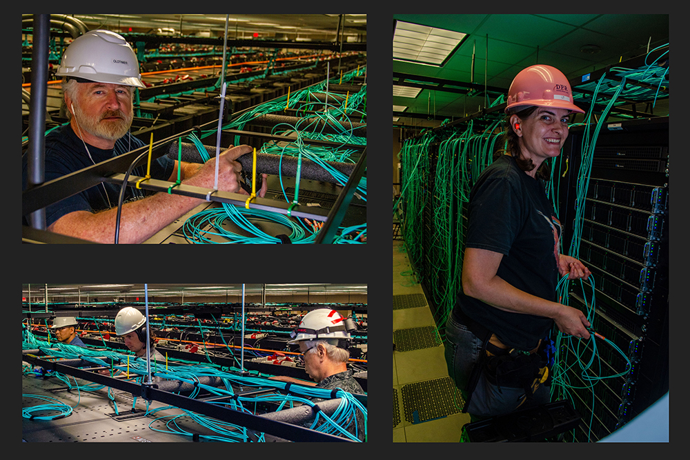 Over 50 miles of network cables provide interconnect for over 8,200 cards, 182 top-of-rack switches, and six core switches. TACC staff pictured (L-R): Dennis Byrne, Laura Branch; (bottom) Junseong Heo, Dave Cooper, and David Carver.