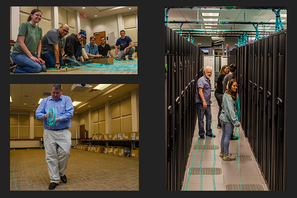 Dozens of volunteers throughout the center helped unroll and place the InfiniBand network cables to the core switches.